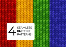 Seamless set knitted patterns in bright saturated colors. Colorful realistic knitted textures for background of site. A set of seamless knitted patterns in Royalty Free Stock Images