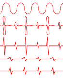 Seamless set of lines heartbeat Royalty Free Stock Photo