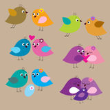 Seamless set with lovely enamored birds and chicks Royalty Free Stock Photos