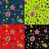 Seamless set multicolored flower pattern. Stock Photography