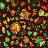 Seamless Set Multicolored Retro Flower Pattern.