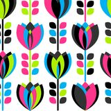 Seamless set multicolored retro flower pattern. Royalty Free Stock Image