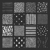 Set of 16 seamless pattern. Abstract forms drawn a wide pen and ink. Backgrounds in black and white. Set of 16 seamless pattern. Drops, points, lines, stripes stock illustration