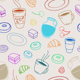 Seamless set of sketches pies and desserts, symbolizing a coffee Stock Photos