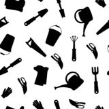 Seamless set of tools for gardening. Gardening collection. Icon silhouette. royalty free illustration