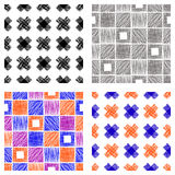 Seamless set of vector geometrical patterns with cross, square. Endless background with hand drawn textured geometric figures Grap Stock Photos