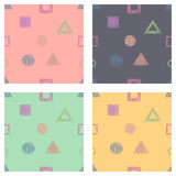 Seamless set of vector geometrical patterns with rectangles, triangles, circle, square endless background with hand drawn textured Stock Photography