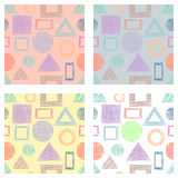 Seamless set of vector geometrical patterns with rectangles, triangles, circle, square endless background with hand drawn textured Royalty Free Stock Photo