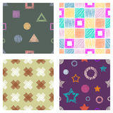 Seamless set of vector geometrical patterns with stars, triangles, circle, square endless background with hand drawn textured geom Royalty Free Stock Photography