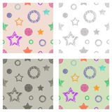 Seamless set of vector geometrical patterns with stars, triangles, circle, square endless background with hand drawn textured geom Royalty Free Stock Images