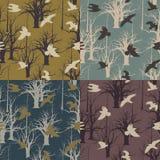 4 seamless settexturer Fåglar i flykten på Vektor Illustrationer