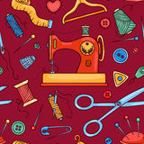 Seamless sewing pattern red Stock Image