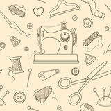 Seamless sewing sketch pattern Stock Photo