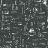 Seamless sewing tools pattern. Monochrome variant in grey color Royalty Free Stock Images