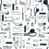 Seamless sewing tools pattern. On white background Stock Photo