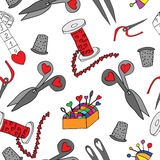 Seamless with  sewing tools set Royalty Free Stock Images