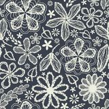 Seamless Shabby Floral Hand-drawn Curly Pattern Royalty Free Stock Photo