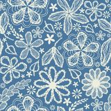 Seamless shabby floral hand-drawn curly pattern Royalty Free Stock Photos