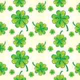 Seamless shamrock pattern, white Stock Photo