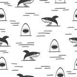 Seamless sharks pattern. Shark attack, black and white vector. Illustration Stock Image