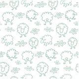 Seamless sheep pattern. Seamless pattern with green sheep Royalty Free Stock Photo