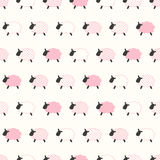 Seamless sheep pattern. In pink color Royalty Free Illustration