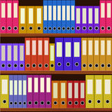 Seamless shelfs with many-coloured folders Royalty Free Stock Image