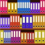 Seamless shelfs with many-coloured folders. Seamless shelfs with many coloured folders background vector illustration