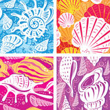 Seamless shell pattern Stock Photo