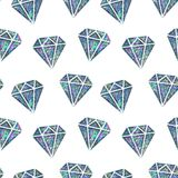 Seamless Shining Holographic Stickers Pattern. Seamless Holographic Stickers Pattern. Diamonds on white Royalty Free Stock Image
