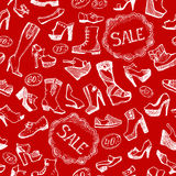 Seamless shoes background Stock Images