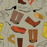 Seamless shoes gray pattern Royalty Free Stock Photo