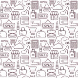 Seamless shopping background with black line style icons Royalty Free Stock Photo