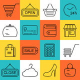 Seamless Shopping background with black line style icons Stock Photo