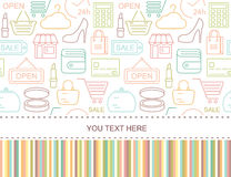 Seamless shopping background with colored line style icons Royalty Free Stock Photo