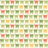 Seamless Shopping Cart Colored Pattern Stock Photography