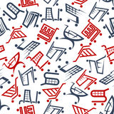 Seamless shopping carts and trolleys pattern Stock Photography