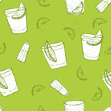 Seamless  short drinks vector pattern. Sketched tequila with lime and salt Royalty Free Stock Photography