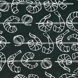 Seamless Shrimp on Wood Stick, Prawn Kebab, Seafood BBQ, Canapes.  On a Chalkboard Background Doodle Cartoon Royalty Free Stock Photos