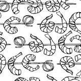 Seamless Shrimp on Wood Stick, Prawn Kebab, Seafood BBQ, Canapes. Isolated On a White Background Doodle Cartoon Vintage Royalty Free Stock Images
