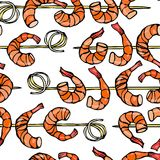 Seamless Shrimp on Wood Stick, Prawn Kebab, Seafood BBQ, Canapes. Isolated On a White Background Doodle Cartoon Vintage Stock Image