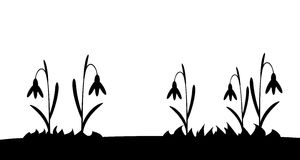 Seamless silhouette grass and flowers. Royalty Free Stock Images