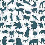 Seamless of silhouette set of animals Stock Photos