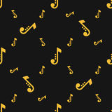 Seamless silhouettes of musical notes pattern over black background. Stock Image