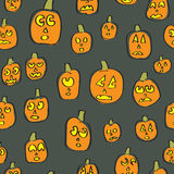 Seamless Silly Pumpkins Royalty Free Stock Image