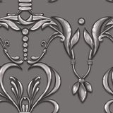 Seamless silver baroque pattern 20. Seamless baroque pattern with decorative silver leaves vector illustration