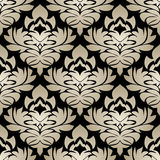 Seamless silver damask Pattern on the black Background Royalty Free Stock Photography