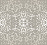 Seamless silver detailed lace flowers and leaves wallpaper Royalty Free Stock Image