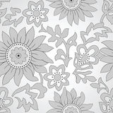 Seamless silver floral background Stock Photo