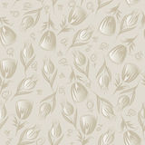 Seamless silver floral vector pattern Royalty Free Stock Photography